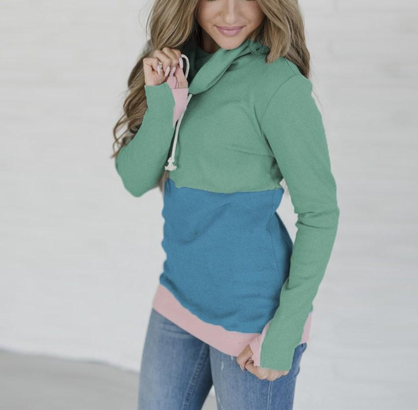 Fashion Slim Collage   Long Sleeve Hooded Sweater Green m
