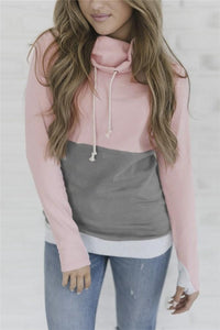 Fashion Slim Collage   Long Sleeve Hooded Sweater Pink l