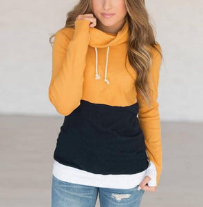 Fashion Slim Collage   Long Sleeve Hooded Sweater Yellow xl