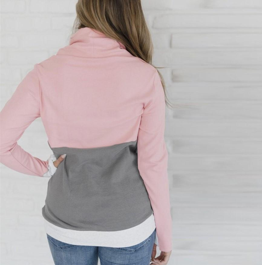 Fashion Slim Collage   Long Sleeve Hooded Sweater Pink xl