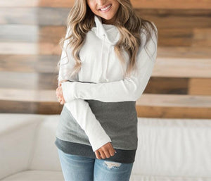 Fashion Slim Collage   Long Sleeve Hooded Sweater White xl