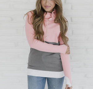Fashion Slim Collage   Long Sleeve Hooded Sweater Pink m
