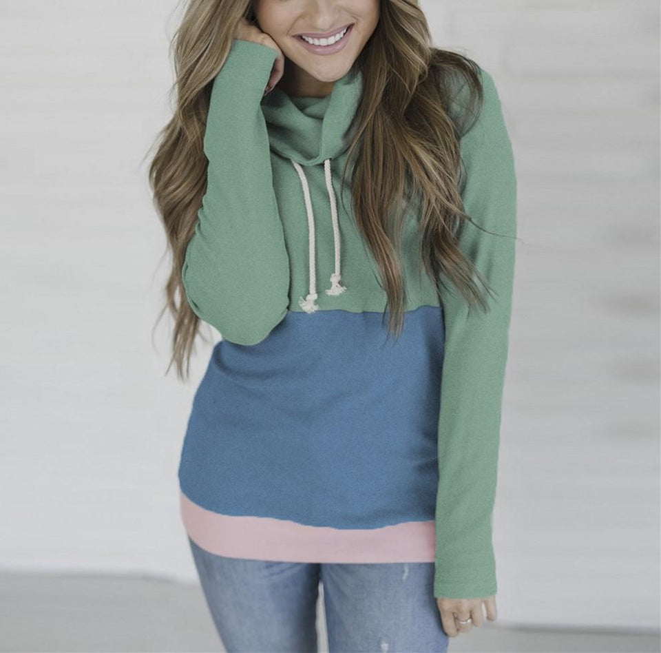 Fashion Slim Collage   Long Sleeve Hooded Sweater Green xl