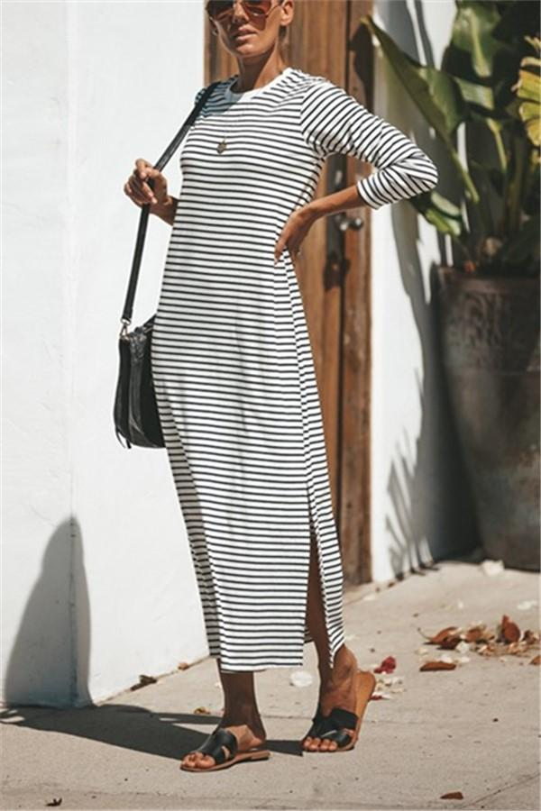 Casual Pure Color Sexy   Long Striped Round Necked Maxi Dress Same As Photo s