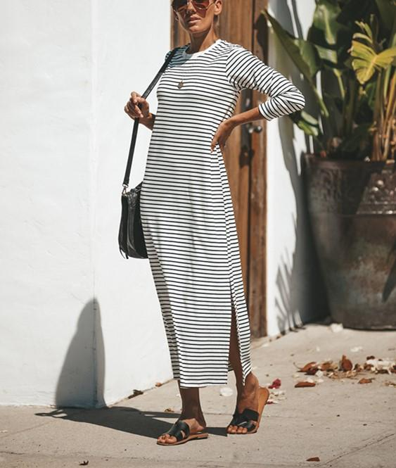 Casual Pure Color Sexy   Long Striped Round Necked Maxi Dress Same As Photo m