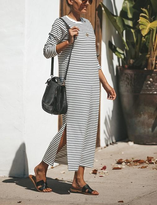 Casual Pure Color Sexy   Long Striped Round Necked Maxi Dress Same As Photo l