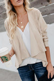 Fold Over Collar  Asymmetric Hem  Plain Jackets Beige xl