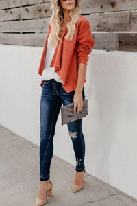Fold Over Collar  Asymmetric Hem  Plain Jackets Orange m