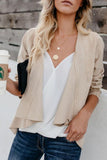 Fold Over Collar  Asymmetric Hem  Plain Jackets Beige l