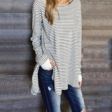 Casual Striped T-Shirt With Round Collar And Long Sleeve Slit Dress