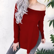 Casual Pure Color Irregular Long-Sleeved Wool Top T-Shirt