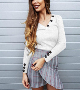 Casual Pure Color Trim V-Neck Buttons For Long Sleeve Knit Tops White m