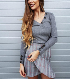 Casual Pure Color Trim V-Neck Buttons For Long Sleeve Knit Tops Gray l