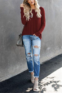 Casual Pure Color Back Zipper Off Shoulder Long Sleeve Slim Sweater Claret s