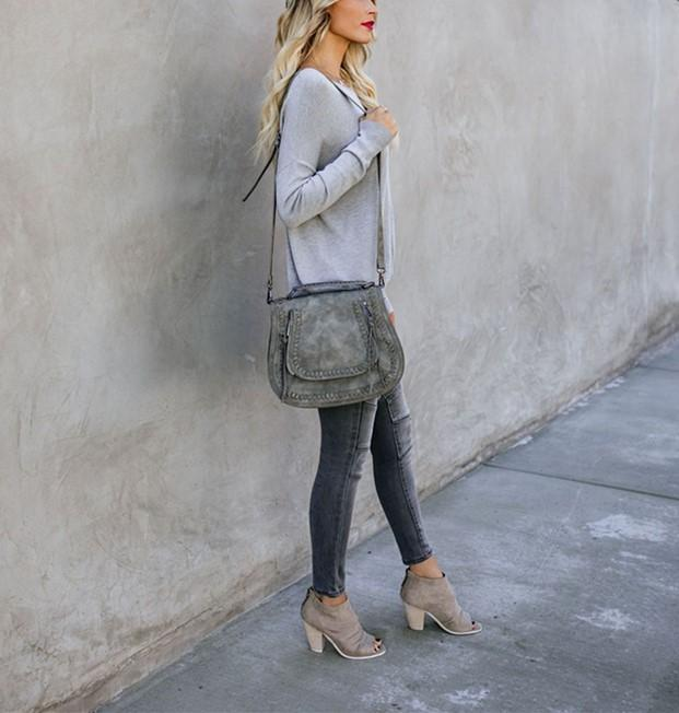 Casual Pure Color Back Zipper Off Shoulder Long Sleeve Slim Sweater Gray xl