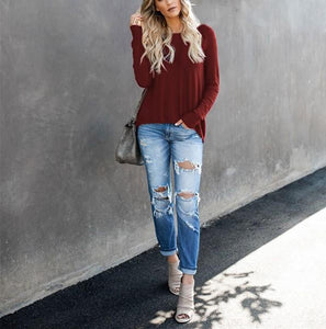 Casual Pure Color Back Zipper Off Shoulder Long Sleeve Slim Sweater Claret m