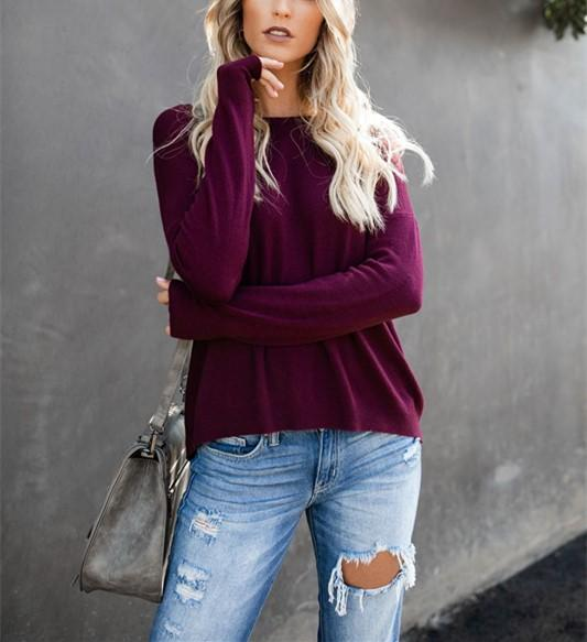 Casual Pure Color Back Zipper Off Shoulder Long Sleeve Slim Sweater Purple s