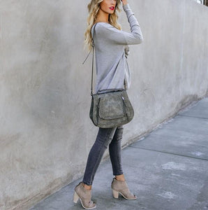 Casual Pure Color Back Zipper Off Shoulder Long Sleeve Slim Sweater Gray l