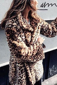 Sexy Lapel Collar Leopard Printed Floss Long Coat Leopard Print s