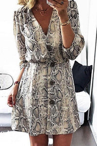 V Neck  Single Breasted  Animal Printed  Long Sleeve Casual Dresses Same As Photo xs