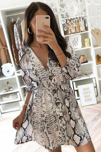 V Neck  Single Breasted  Animal Printed  Long Sleeve Casual Dresses