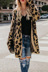 Collarless  Flap Pocket  Leopard Printed Outerwear Blue m