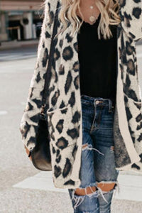 Collarless  Flap Pocket  Leopard Printed Outerwear Blue l