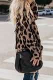 Collarless  Flap Pocket  Leopard Printed Outerwear Same As Photo s