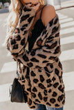 Collarless  Flap Pocket  Leopard Printed Outerwear Leopard Print m