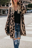 Collarless  Flap Pocket  Leopard Printed Outerwear Leopard Print s
