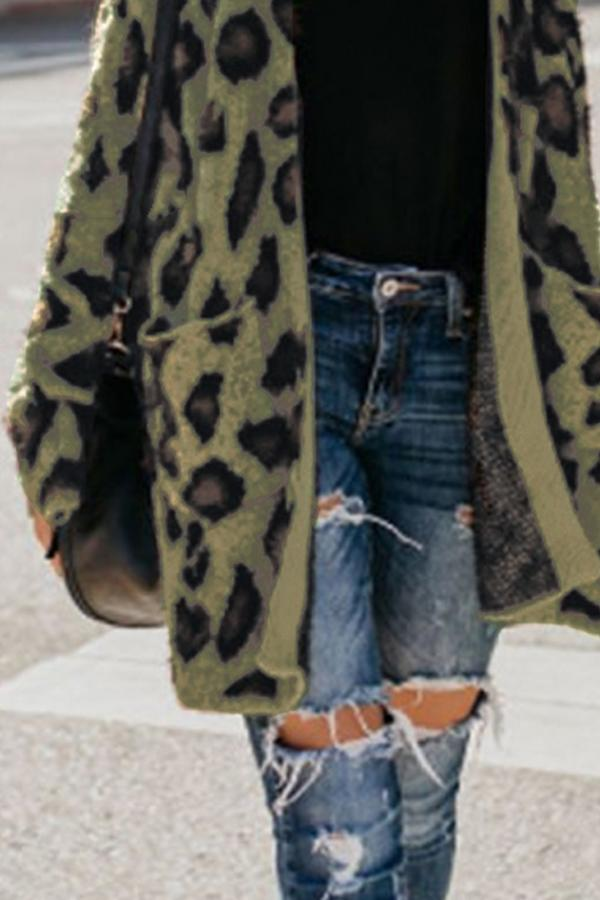 Collarless  Flap Pocket  Leopard Printed Outerwear Army Green m