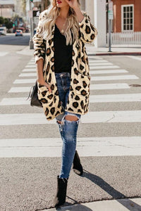 Collarless  Flap Pocket  Leopard Printed Outerwear Same As Photo l