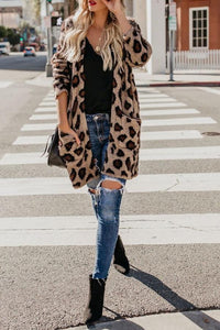 Collarless  Flap Pocket  Leopard Printed Outerwear Same As Photo m