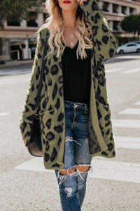 Collarless  Flap Pocket  Leopard Printed Outerwear Army Green s