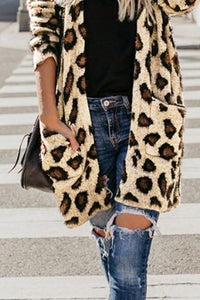 Collarless  Flap Pocket  Leopard Printed Outerwear Same As Photo xl