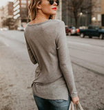 Fashion Casual Fashion Pure Color Long Sleeve T-Shirt With Round Collar And Slit Dark Grey m