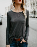 Fashion Casual Fashion Pure Color Long Sleeve T-Shirt With Round Collar And Slit Dark Grey l