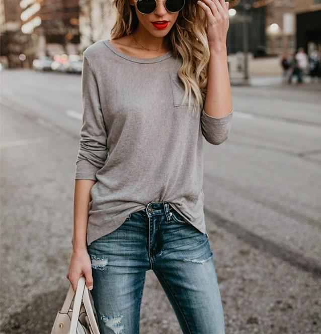 Fashion Casual Fashion Pure Color Long Sleeve T-Shirt With Round Collar And Slit Gray l
