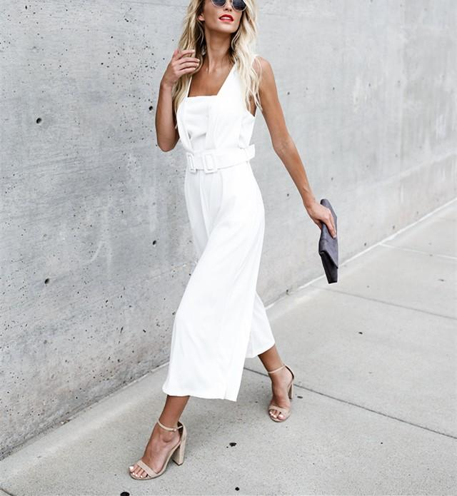 Fashion Casual Sexy Sleeveless Backless Jumpsuits White xl