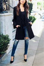 Fashion Casual Pure Color Slim Long Jacket Coat Round Collar