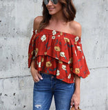Fashion Casual Sexy Printed Street Snap A Short Shirt With One Shoulder Same As Photo xl