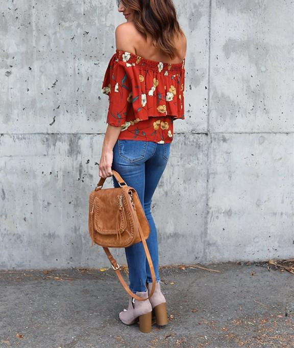 Fashion Casual Sexy Printed Street Snap A Short Shirt With One Shoulder Same As Photo m