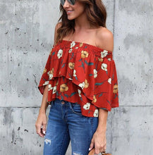 Fashion Casual Sexy Printed Street Snap A Short Shirt With One Shoulder