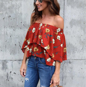 Fashion Casual Sexy Printed Street Snap A Short Shirt With One Shoulder Same As Photo l
