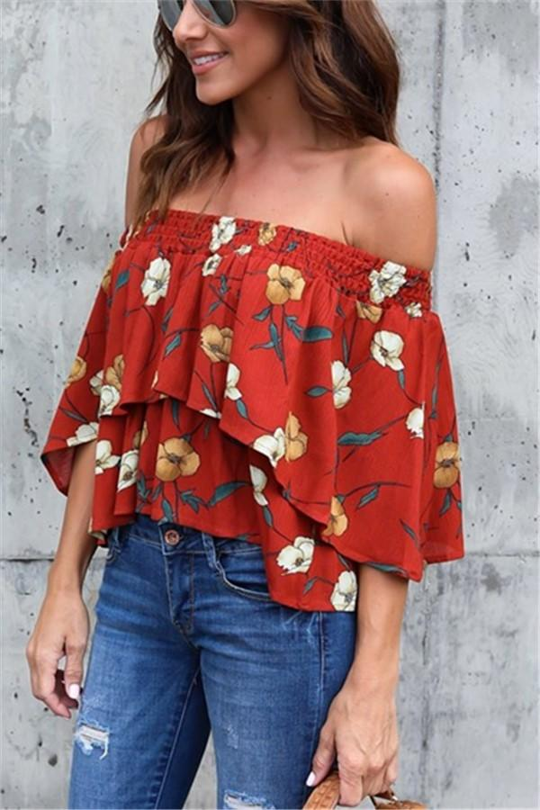 Fashion Casual Sexy Printed Street Snap A Short Shirt With One Shoulder Same As Photo s