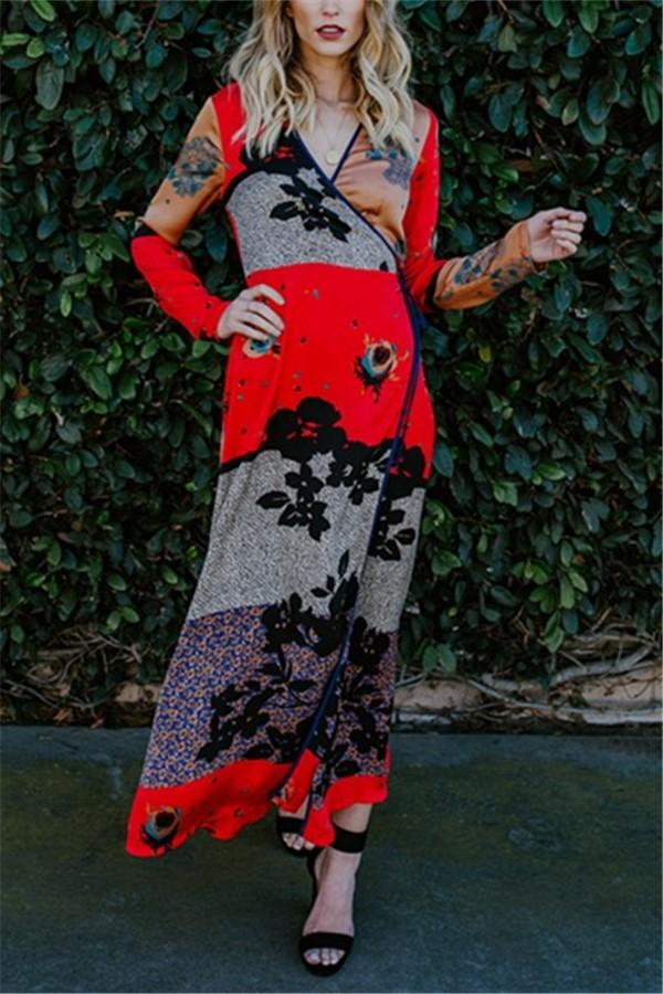 Fashion Casual Long And Thin Printed Chiffon Kimono Maxi Dress Same As Photo s