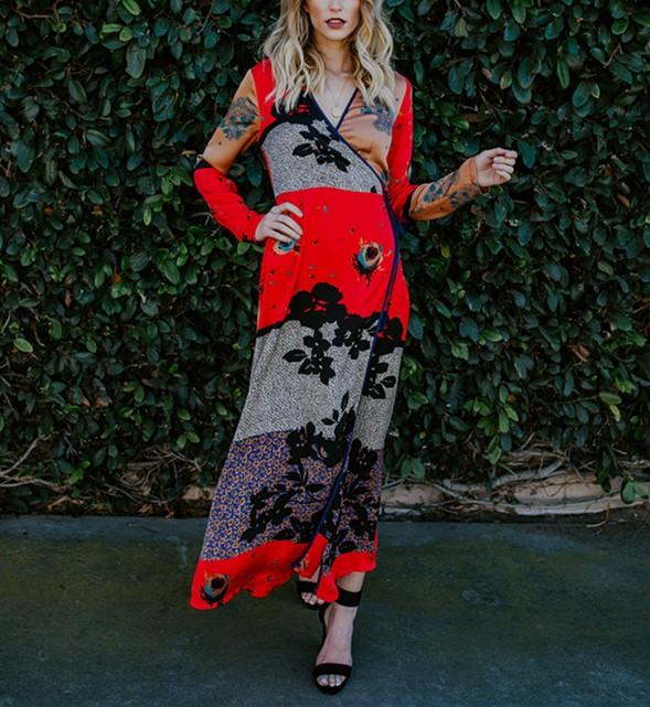 Fashion Casual Long And Thin Printed Chiffon Kimono Maxi Dress Same As Photo m
