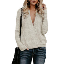 Fashion Casual Pure Color Deep V - Neck Rabbit Plush Knitted Sweater