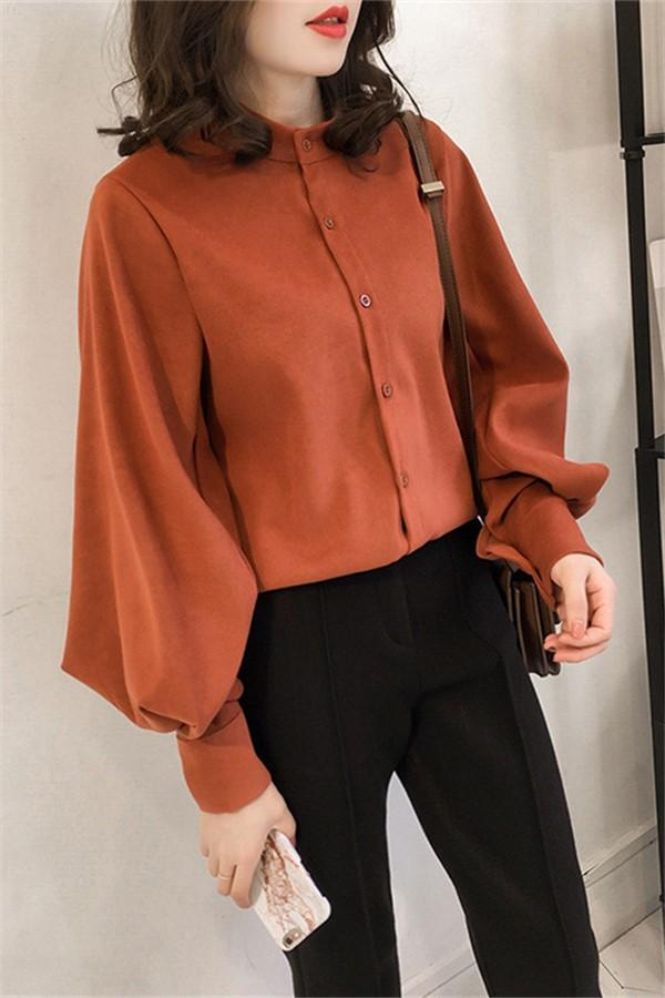 Fashion Casual Simple And Pure Color Long Sleeve Loose Shirt Orange m