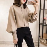 Fashion Casual Simple And Pure Color Long Sleeve Loose Shirt Khaki m